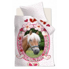 Lenjerie de pat fete din bumbac cu cal