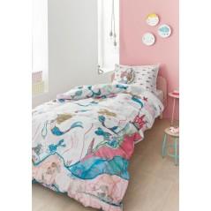 Set lenjerie de pat fetite cu 1 fata de perna Mermaids cu sirene pe fond alb cu roz