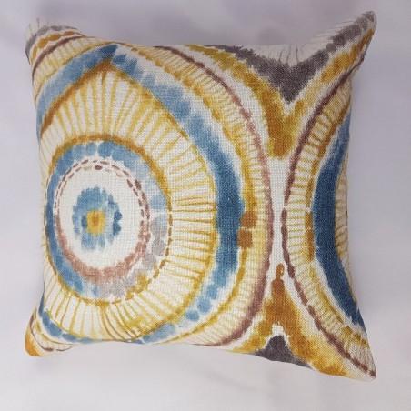 Perna decorativa din in colorata mustar cu albastru