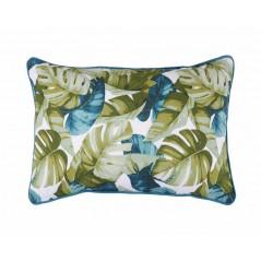Perna decorativa cu frunze exotice verde cu albastru