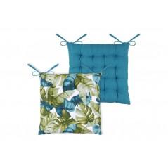 Perna scaun din bumbac albastru cu verde cu frunze exotice