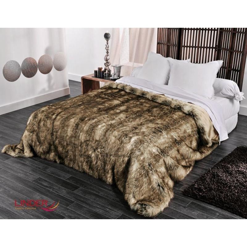 Cuvertura de pat din blana Grizzli Taupe