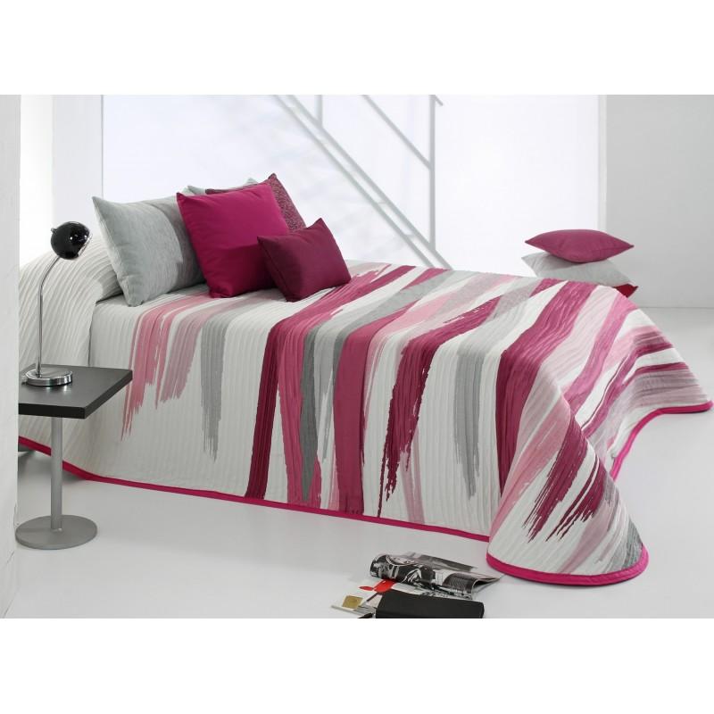 Cuvertura de pat moderna Beyker rosu cu roz si gri