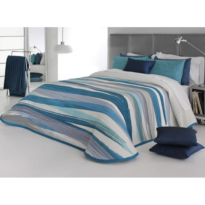 Cuvertura de pat moderna Beyker albastru turcoaz cu gri
