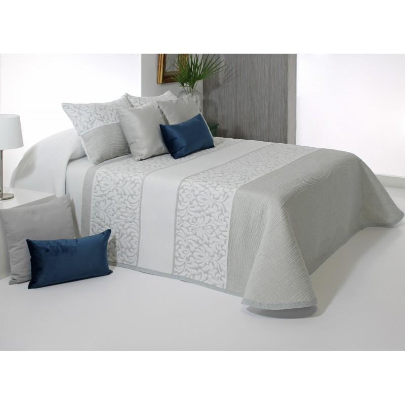 Cuvertura de pat eleganta gri cu alb