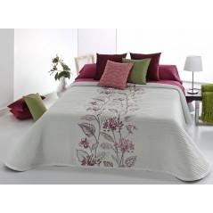 Cuvertura de pat cu motive florale Darlin alb cu rosu