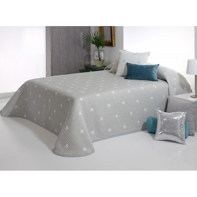 Cuvertura de pat grej cu stelute albe