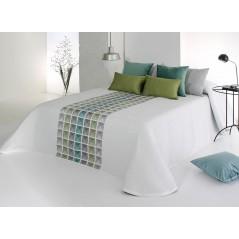 Cuvertura de pat cu modele geometrice Leik turcoaz si gri pe fond alb