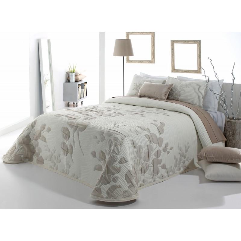 Cuvertura de pat eleganta cu model de frunze Lesly bej cu alb