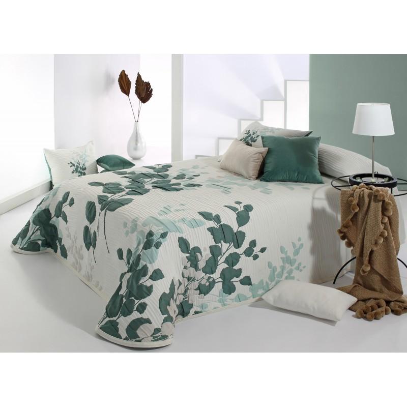Cuvertura de pat culoare verde marin cu alb