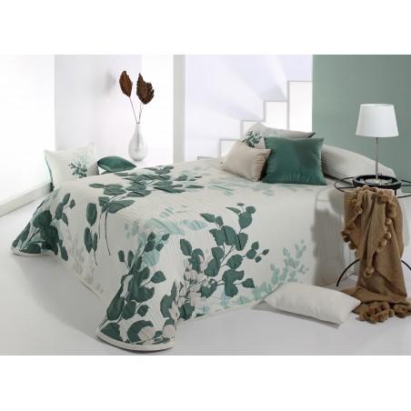Cuvertura de pat eleganta cu model de frunze Lesly verde cu alb
