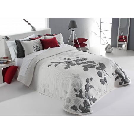 Cuvertura de pat eleganta cu model de frunze Lesly alb cu gri inchis