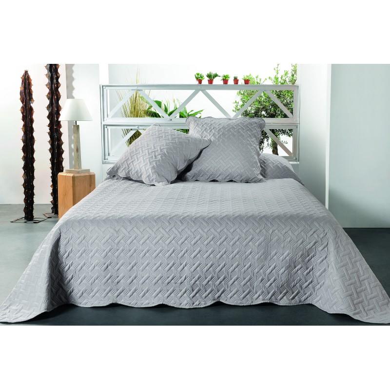 Set cuvertura de pat cu 2 fete de perna gri cu imprimeu geometric