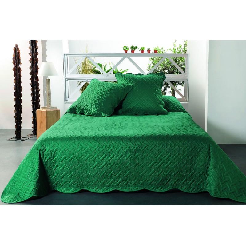 Set cuvertura cu 2 fete de perna verde cu imprimeu geometric