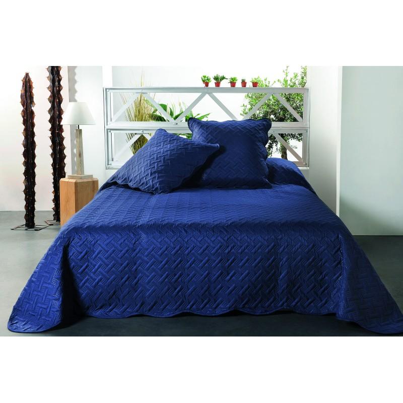 Set cuvertura de pat cu 2 fete de perna albastru indigo cu imprimeu geometric