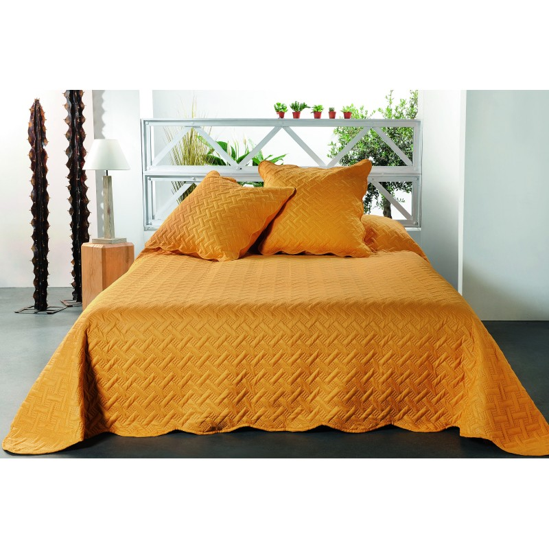 Set cuvertura de pat cu 2 fete de perna mustar cu imprimeu geometric