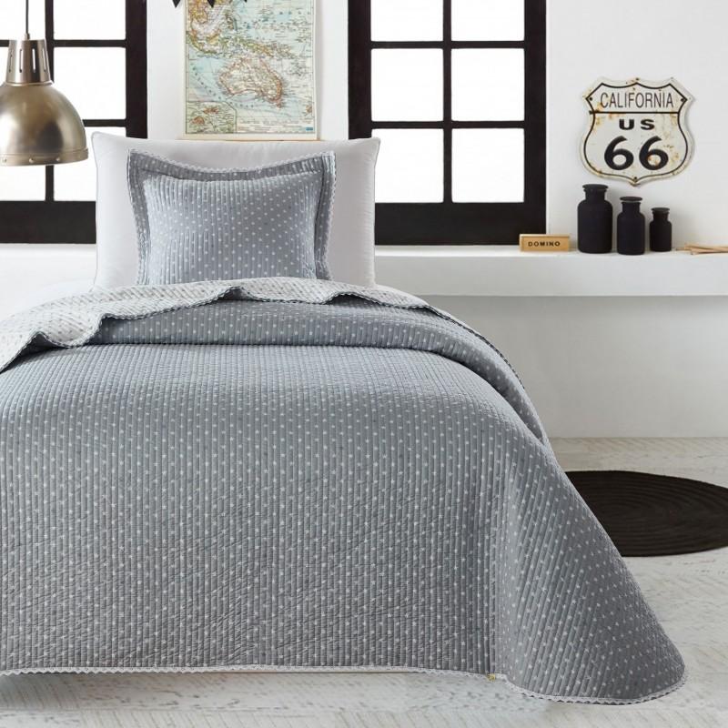 Set cuvertura de pat cu o fata de perna Stella Gri