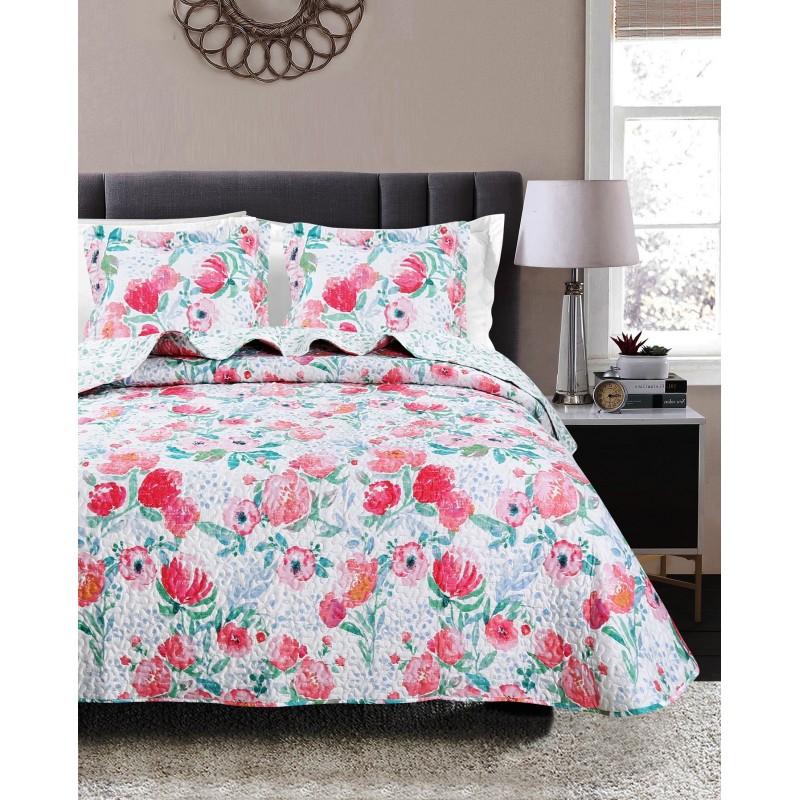 Set cuvertura de pat cu o fata de perna model floral Mia