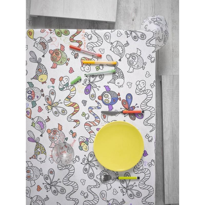 Fata de masa de colorat pentru copii cu animale