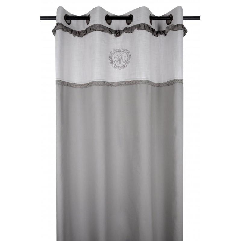 Draperie bumbac gri cu model brodat confectionata cu inele 140x260 cm