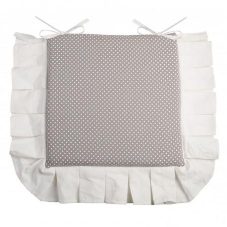 Perna scaun bumbac gri cu bordura Verone