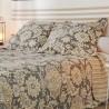 Set cuvertura pat cu 2 fete de perna San Jose cu flori bej pe gri