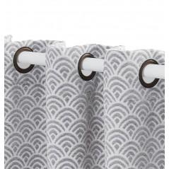Draperie jacquard gri cu design geometric confectionata cu inele 140x260 cm