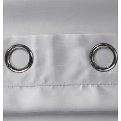 Draperie satinata semi-transparenta confectionata cu inele Bon Gri perlat
