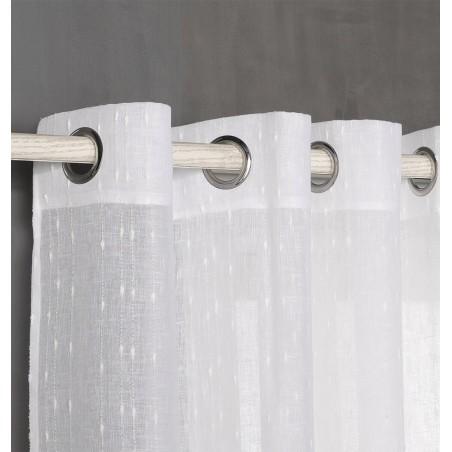 Perdea semi-transparenta cu dungi verticale confectionata cu inele Bin Alb