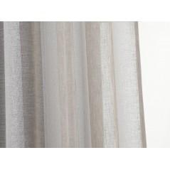 Perdea transparenta cu dungi orizontale argintii confectionata cu inele Rayuela Bej