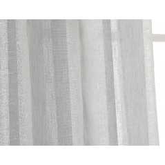 Perdea transparenta cu dungi orizontale argintii confectionata cu inele Rayuela Gri