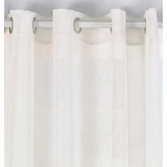 Perdea transparenta cu fir argintiu confectionata cu inele Brigitte Bej