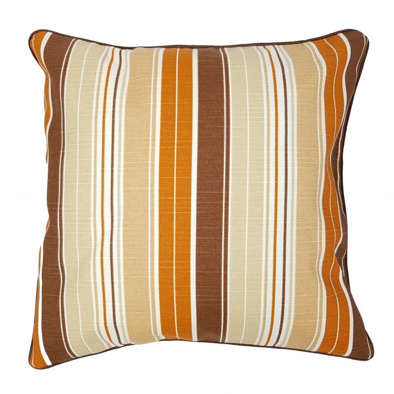 Perna decorativa bumbac cu dungi portocalii crem si maro