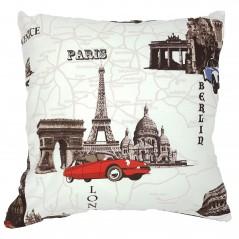 Perna decorativa cu tematica moderna crem cu maro si rosu
