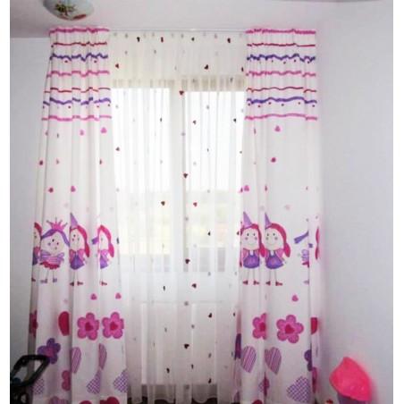 Metraj perdea copii cu floricele si inimioare Wendybor mov cu roz pe fond alb