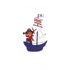 Perdea copii cu colaj pirati pe fond alb