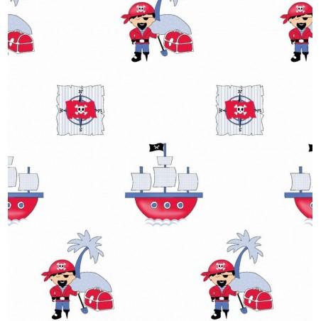 Draperie copii cu pirati pe fond alb Hook
