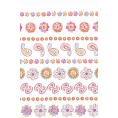 Draperie copii cu imprimeu floral roz cu portocaliu Cassy