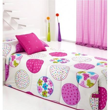 Metraj draperie pentru fete cu cercuri colorate Candycor alb cu roz