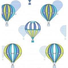 Draperie copii cu baloane albastre pe fond alb Balloon