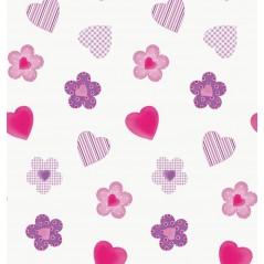 Draperie copii flori si inimioare pe fond alb Wendyco