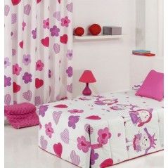 Metraj draperie cu flori si inimioare Wendyco roz cu mov pe fond alb