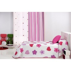 Metraj draperie pentru copii cu dungi Wendyra  roz si mov pe fond alb