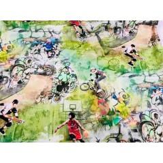 Metraj draperie copii bumbac cu imprimeu cu activitati sportive