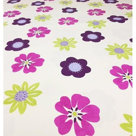 Metraj draperie copii cu flori mov si verde Nico Trisca Violeta