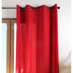 Draperie bumbac confectionata cu inele Duo Uni rosu