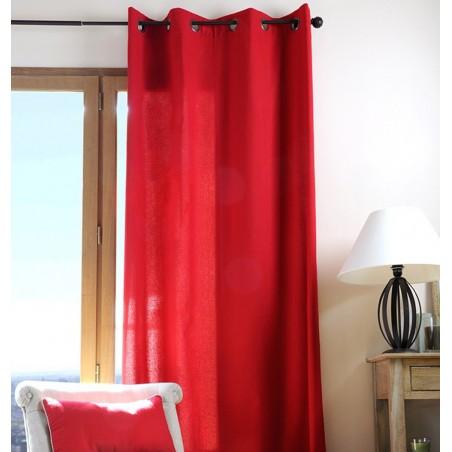 Draperie rosie bumbac confectionata cu inele Duo Uni 135x240 cm