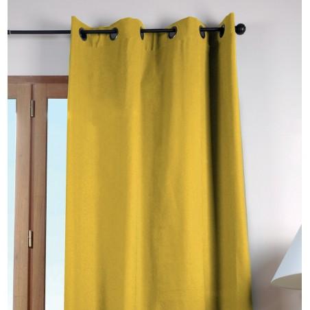 Draperie bumbac confectionata cu inele Duo Uni galben