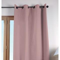 Draperie bumbac confectionata cu inele Duo Uni roz prafuit