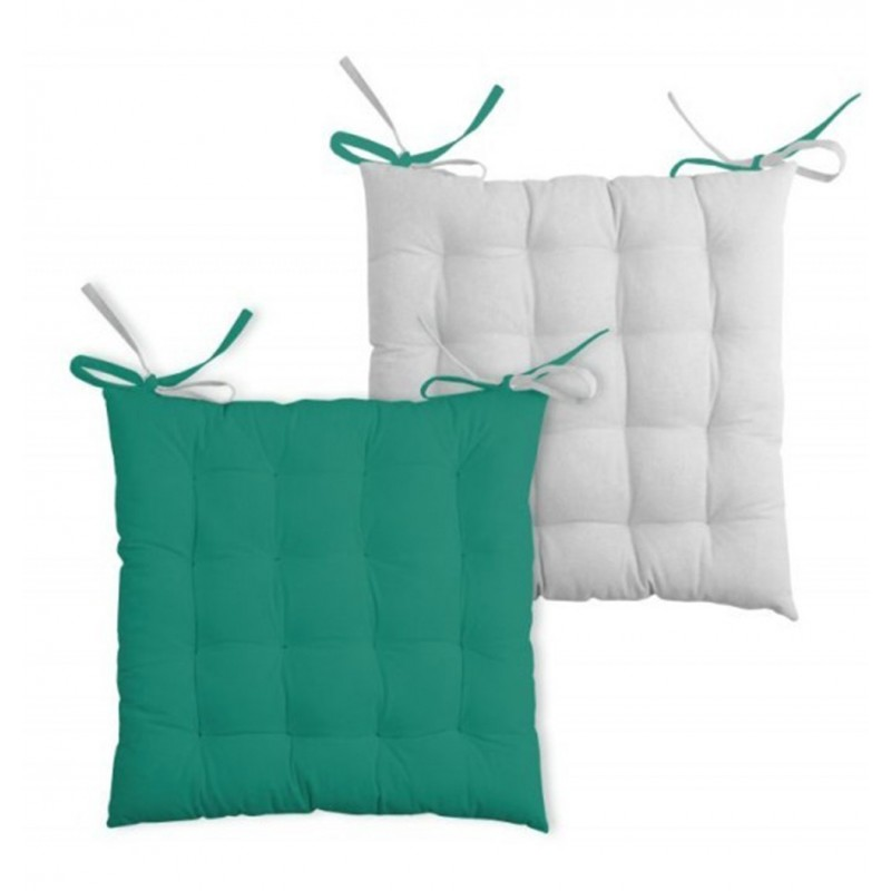 Perna scaun bumbac cu 2 fete Duo Verde turcoaz Gri perlat